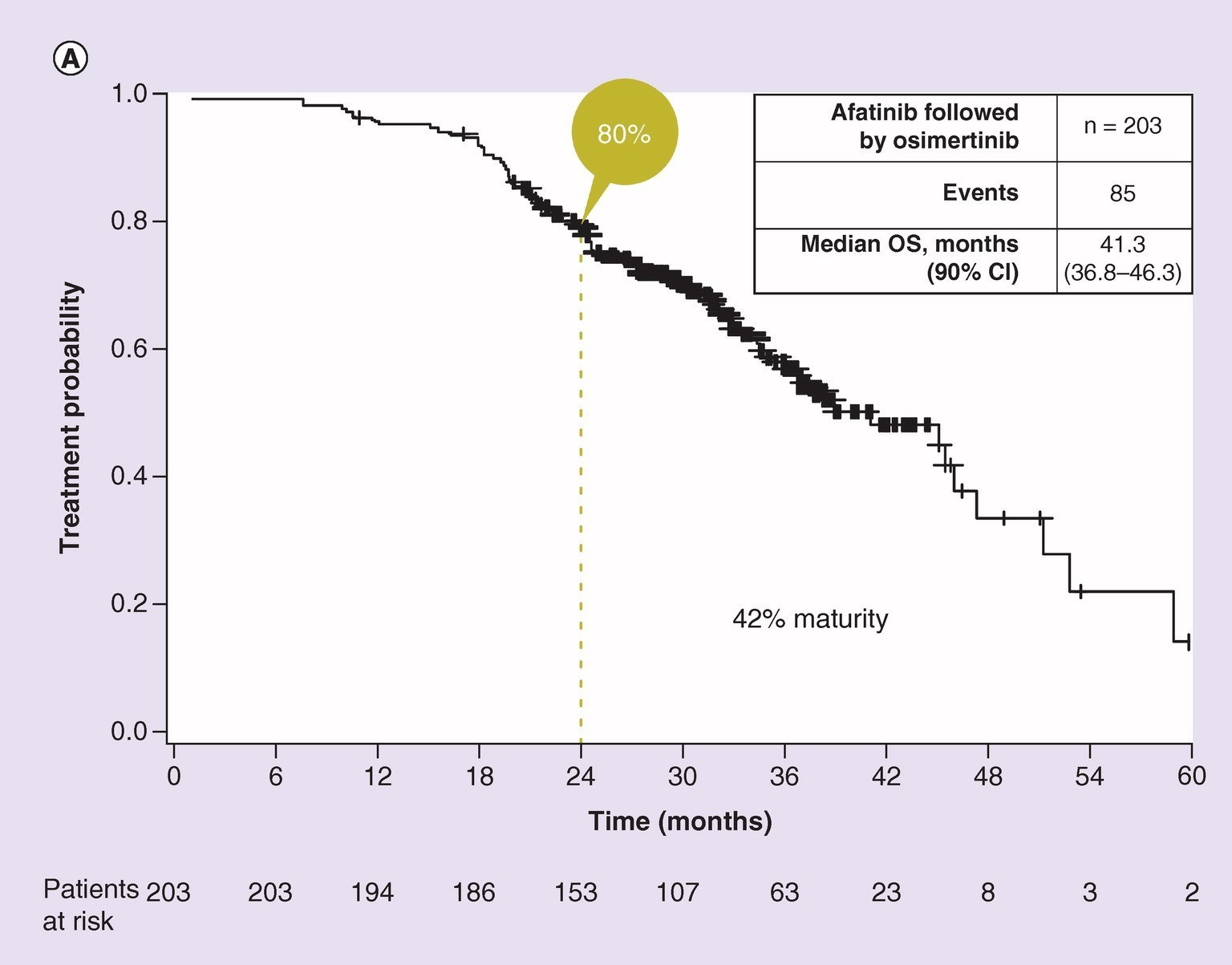 Overall survival in patients treated with sequential afatinib and osimertinib therapy.